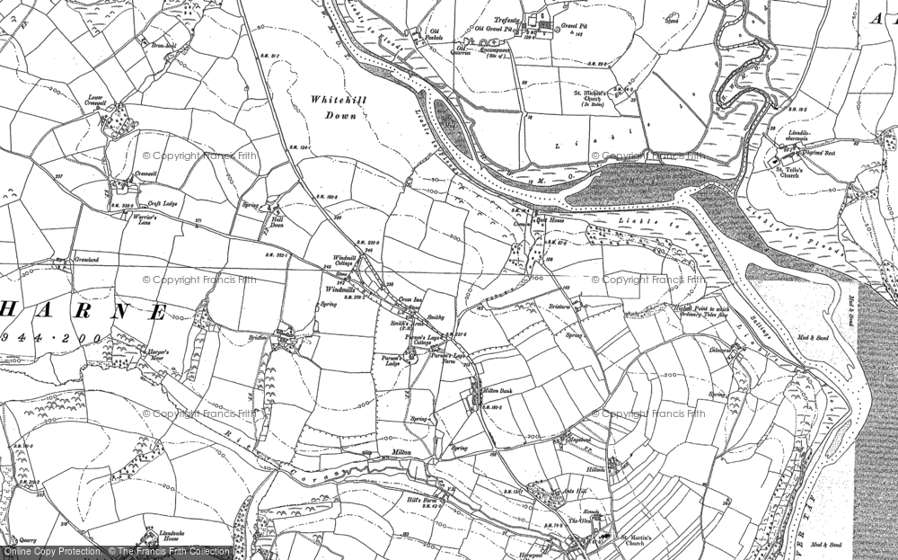 Old Map of Historic Map covering Lanfro in 1886
