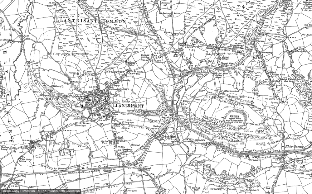Old Map of Historic Map covering Afon Clun in 1898