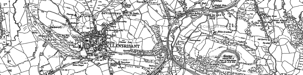 Old map of Afon Clun in 1898