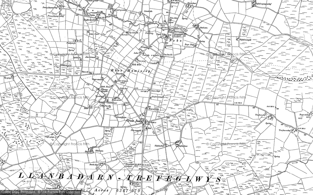 Old Map of Historic Map covering Afon Brân in 1904