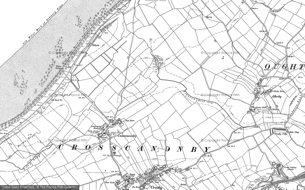 Old Map of Historic Map covering Allonby Bay in 1923