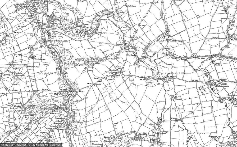 Old Map of Historic Map covering Afon Bryn berian in 1888