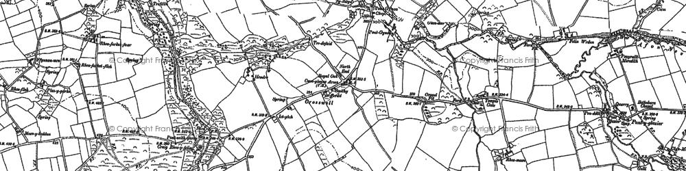 Old map of Afon Bryn berian in 1888