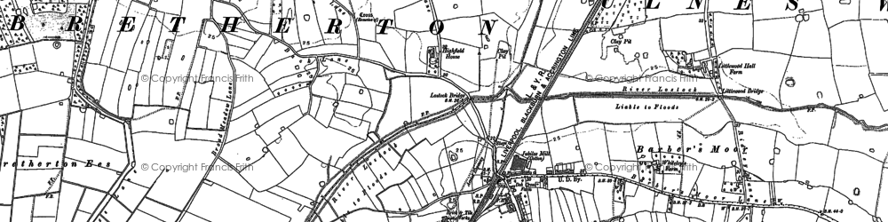 Old map of Croston in 1893