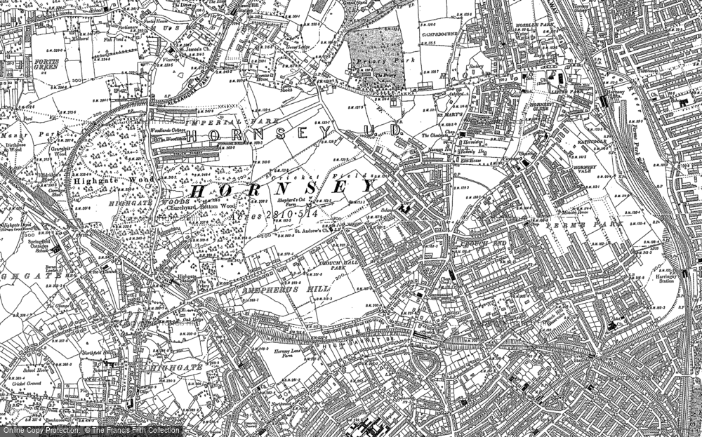 Old Map of Crouch End, 1894 - 1896 in 1894