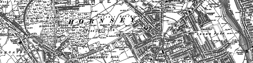 Old map of Crouch End in 1894