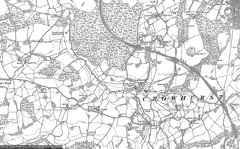 Old Map of Historic Map covering 1066 Country Walk Bexhill Link in 1897