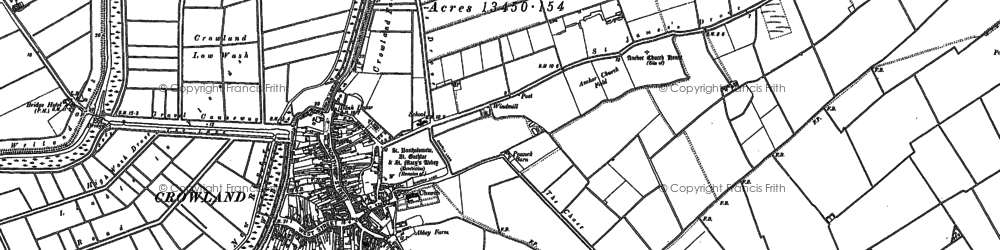Old map of Crowland in 1887