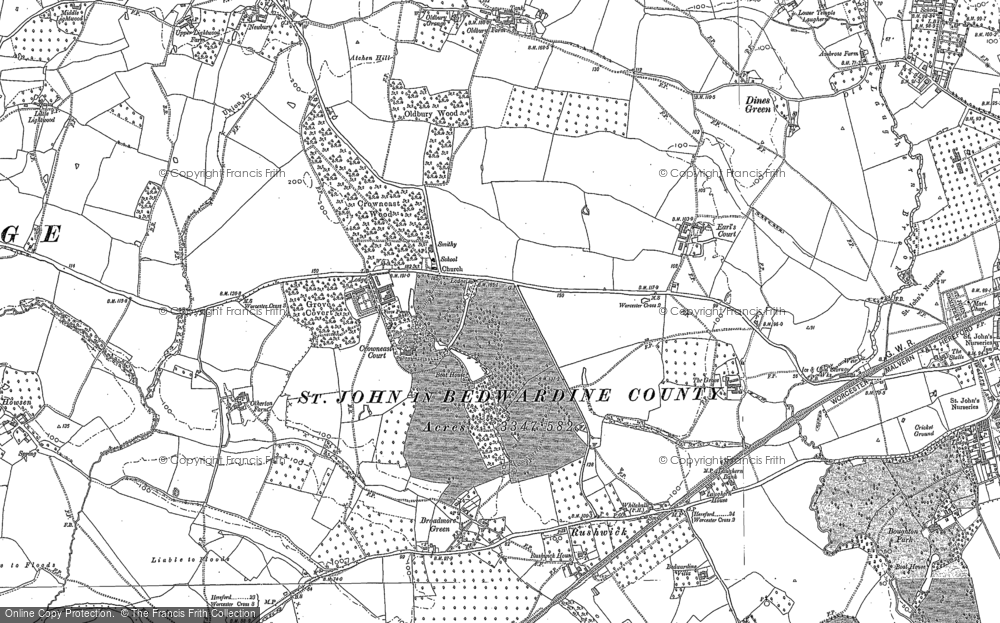 Old Map of Historic Map covering Atchen Hill in 1884