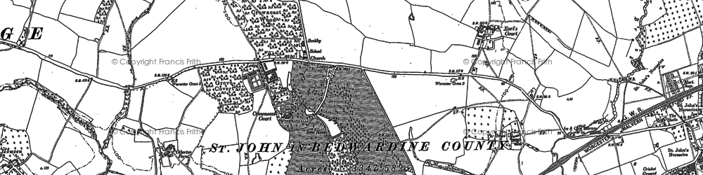 Old map of Atchen Hill in 1884