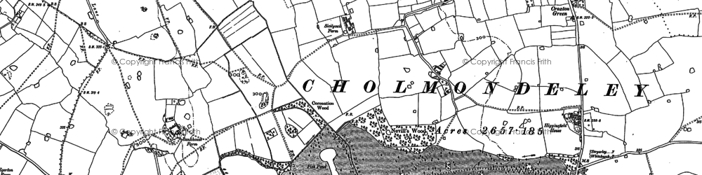 Old map of Cholmondeley Castle in 1897