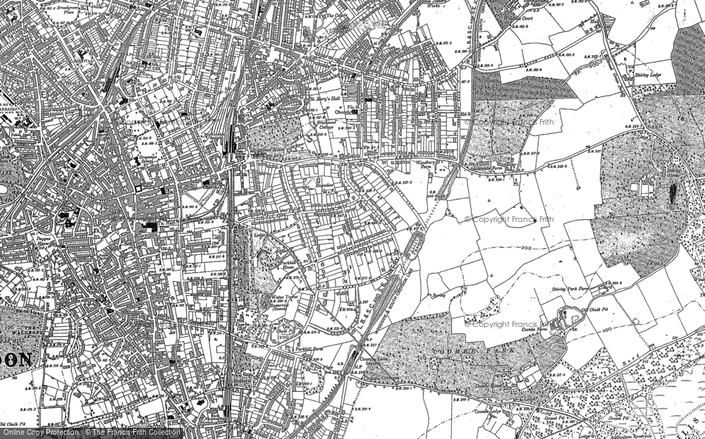 Old Map of Croydon, 1895 in 1895