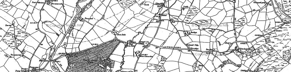 Old map of Ynysau-isaf in 1886