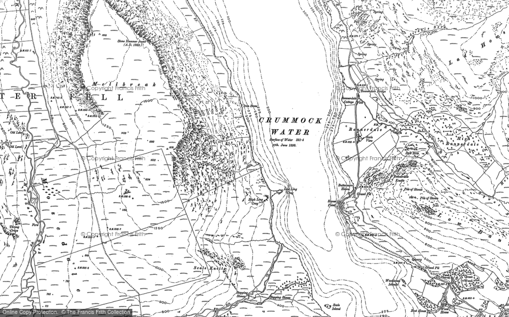 Old Map of Historic Map covering Ling Crags in 1898