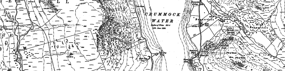 Old map of Ling Crags in 1898