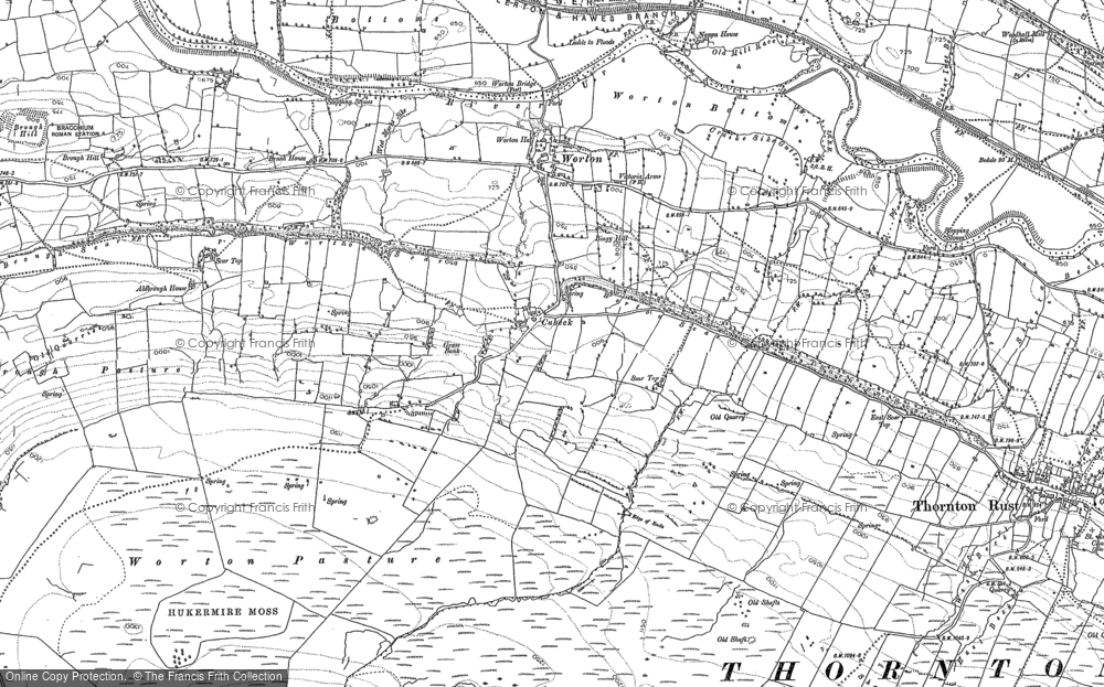 Old Map of Historic Map covering Addlebrough in 1892