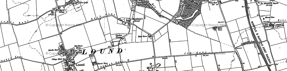 Old map of Hopton on Sea in 1882
