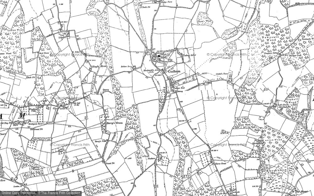 Old Map of Historic Map covering Lett's Green in 1907