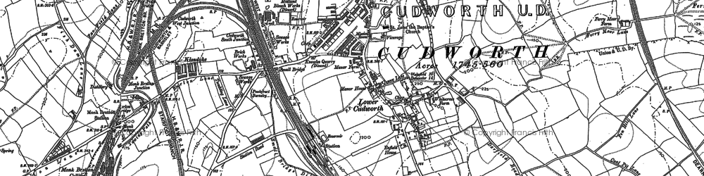 Old map of Cudworth in 1851