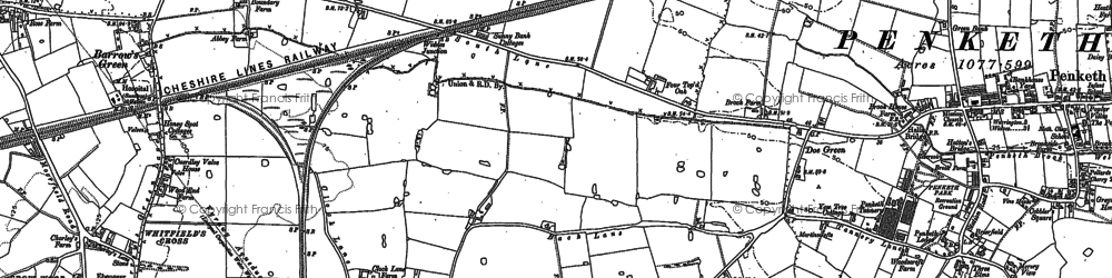 Old map of Fiddler's Ferry in 1894