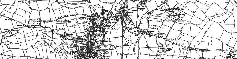 Old map of Cullompton in 1887