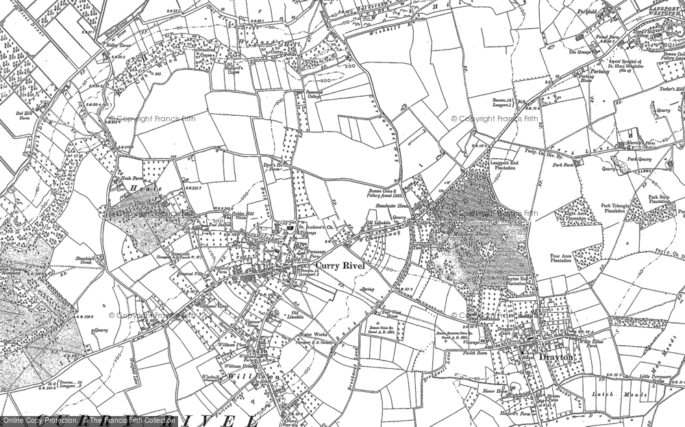 Old Map of Curry Rivel, 1885 - 1886 in 1885