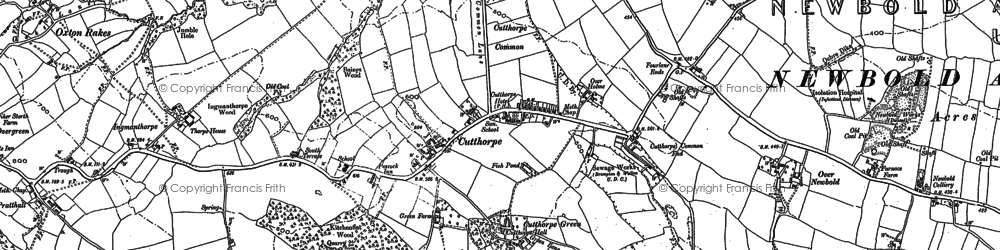 Old map of Oxton Rakes in 1876