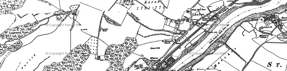 Old map of Wouldham Marshes in 1895