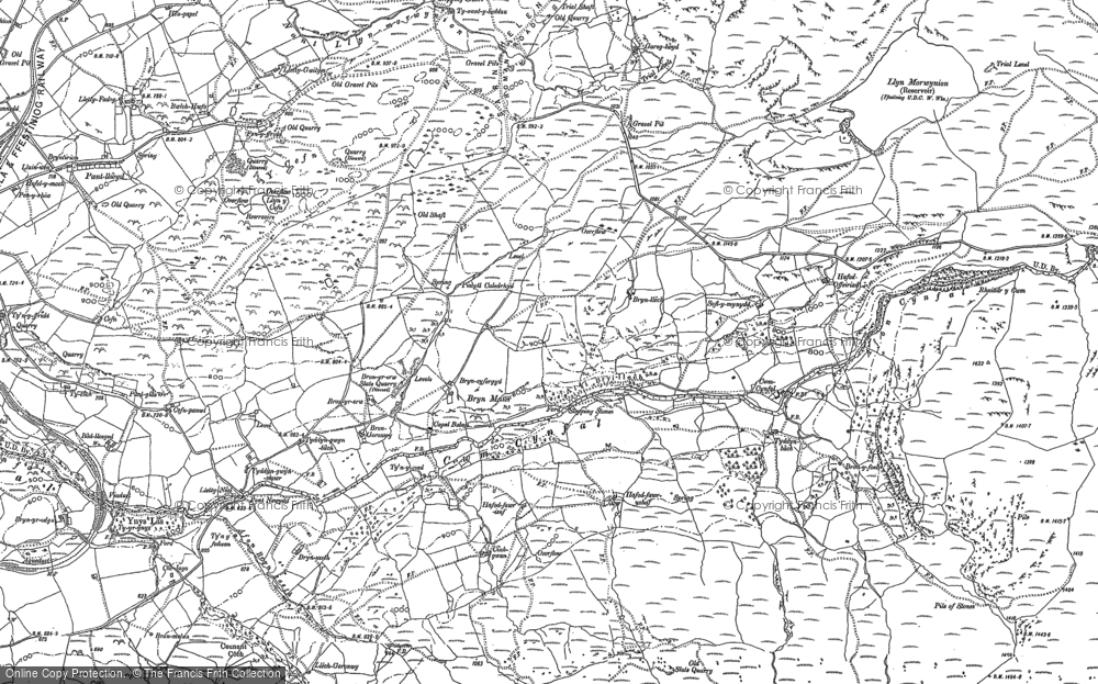 Old Map of Historic Map covering Afon Cynfal in 1887