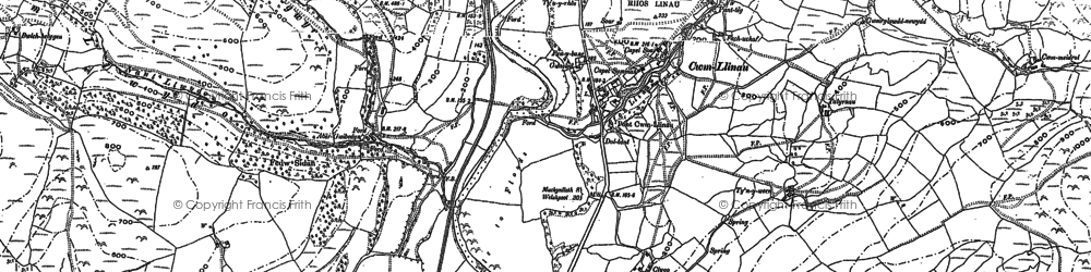 Old map of Cwm-Llinau in 1886