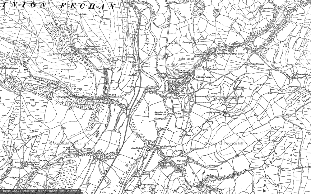Old Map of Historic Map covering Afon Llinau in 1898