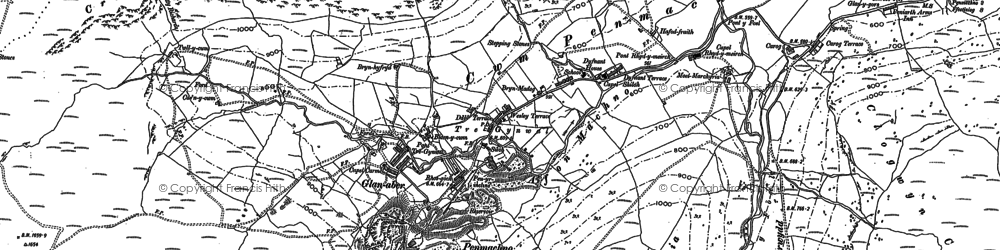 Old map of Afon Glasgwm in 1899