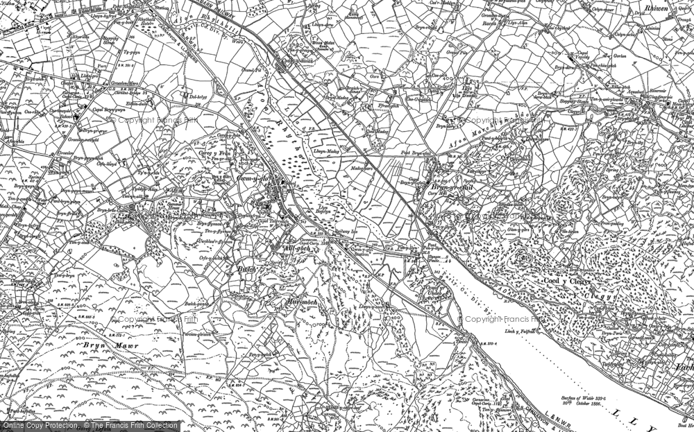 Old Map of Cwm-y-glo, 1888 - 1899 in 1888