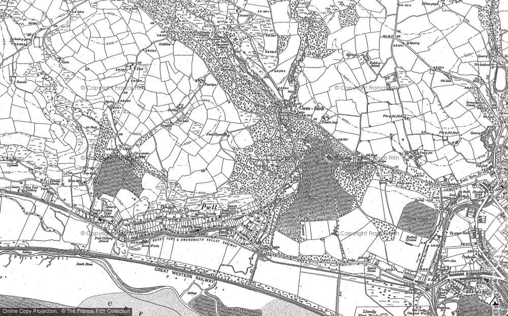Old Map of Historic Map covering Afon Dulais in 1879