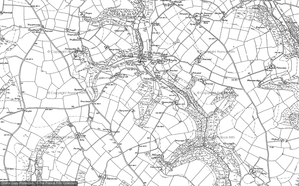 Old Map of Historic Map covering Afon Sien in 1887