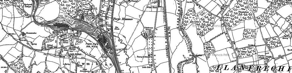 Old map of Cwmbran in 1899