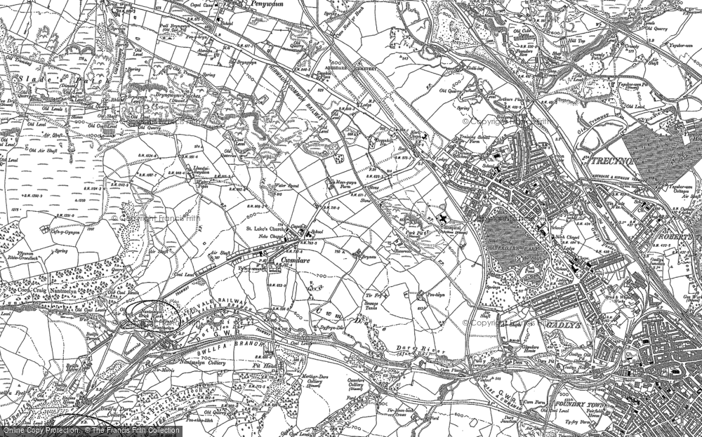Old Map of Cwmdare, 1898 in 1898