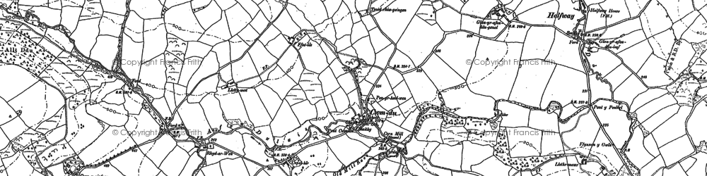Old map of Cwmdu in 1886
