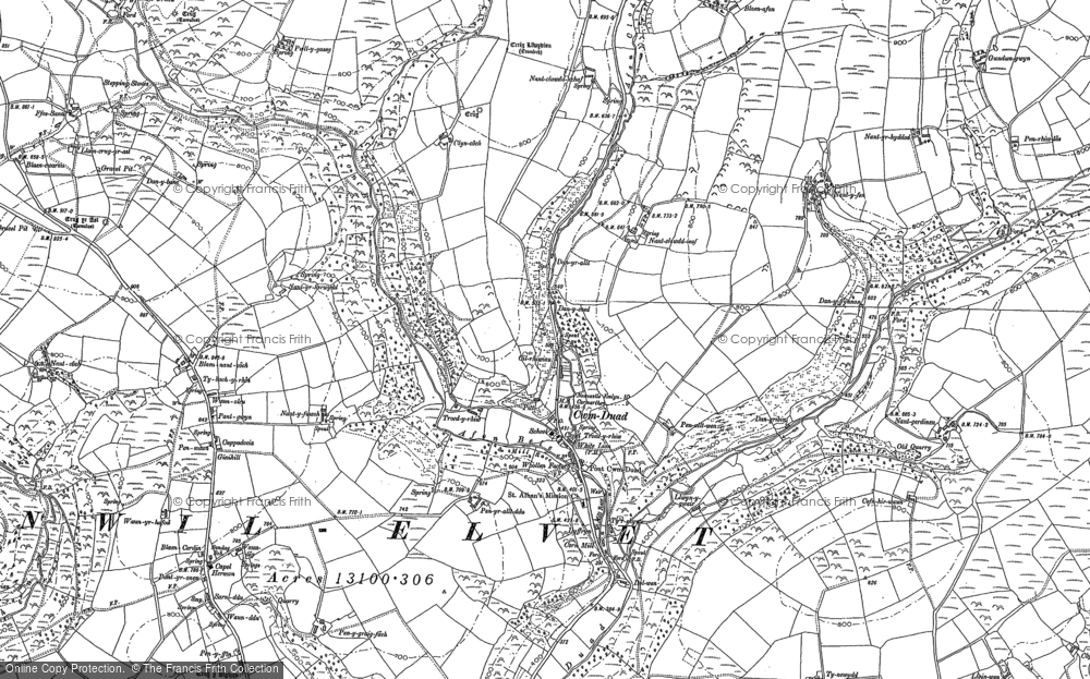 Old Map of Historic Map covering Afon Bele in 1887