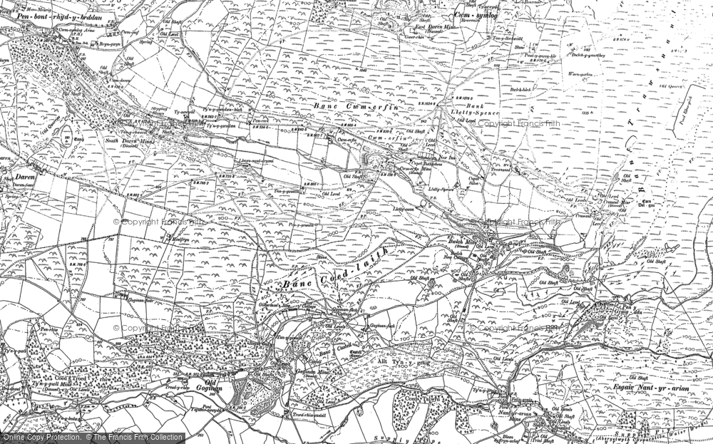 Old Map of Historic Map covering Banc Trawsnant in 1886