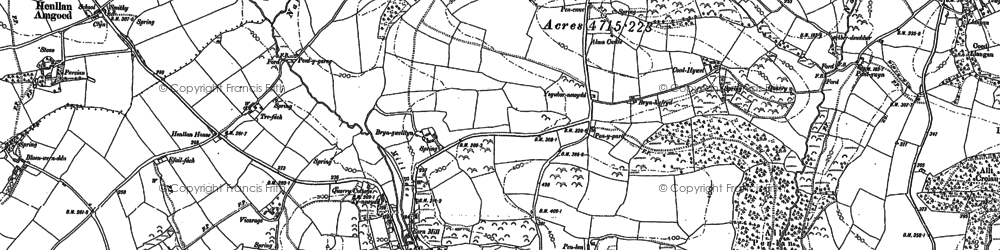 Old map of Whitland Abbey in 1906