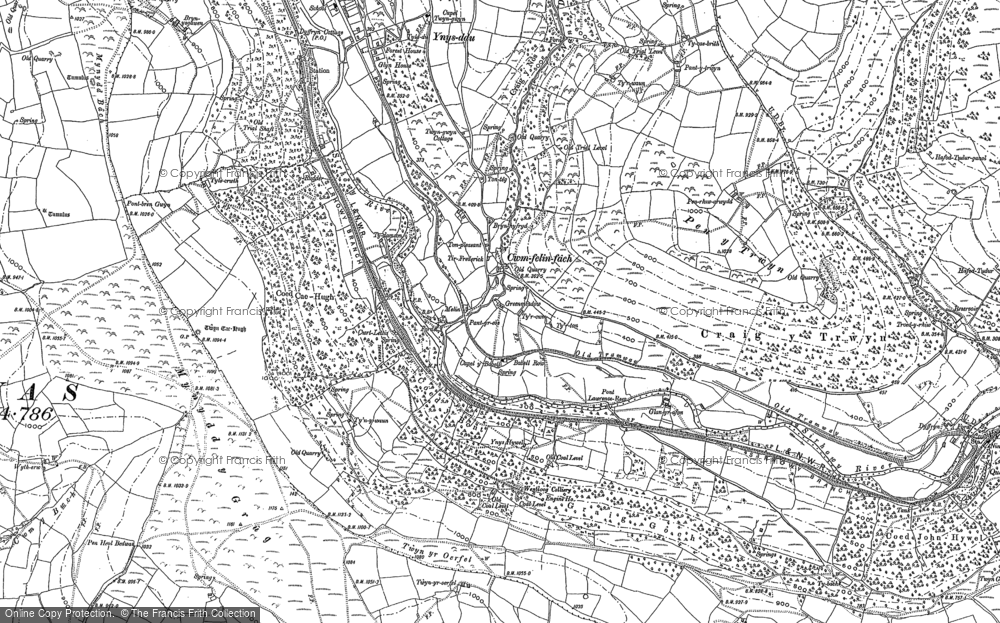 Old Map of Historic Map covering Ton-eithin in 1915