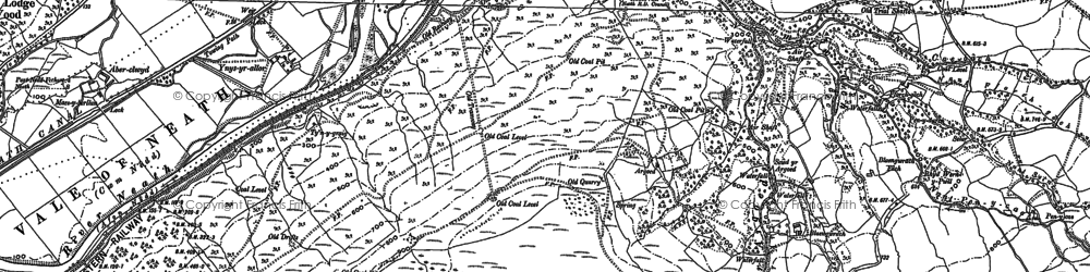 Old map of Aber-pergwm Wood in 1878