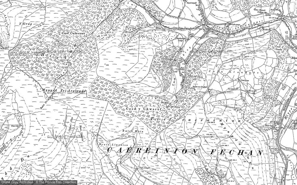 Old Map of Historic Map covering Afon Caws in 1900
