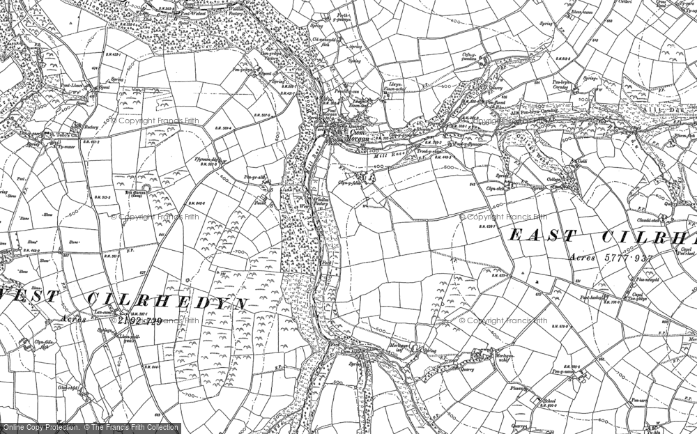 Old Map of Historic Map covering Afon Sylgen in 1887