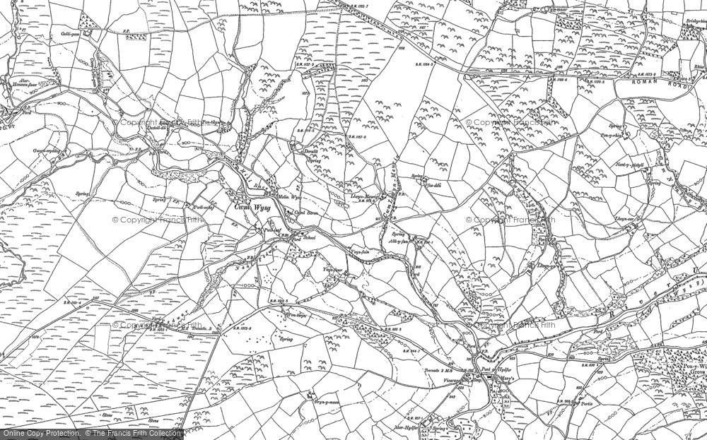 Old Map of Historic Map covering Aberhenwenfawr in 1884