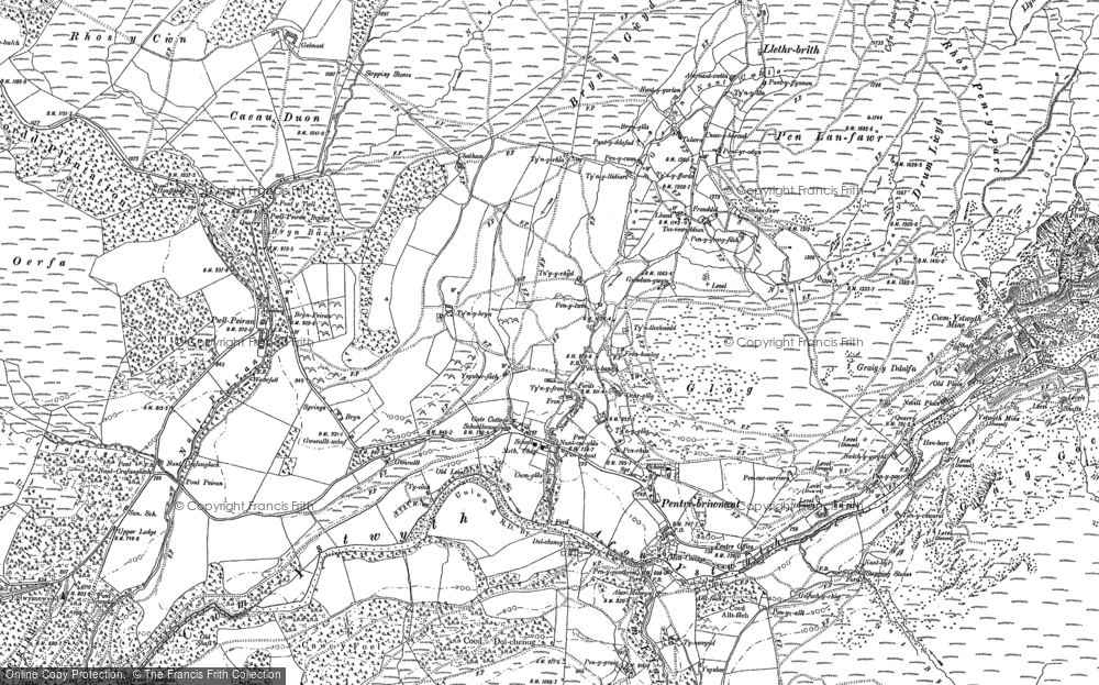 Old Map of Historic Map covering Allt Dihanog in 1901