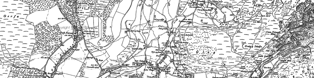 Old map of Allt Dihanog in 1901