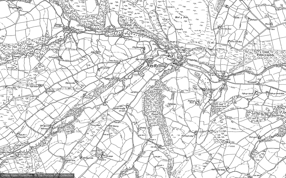 Old Map of Historic Map covering Afon Corris in 1898