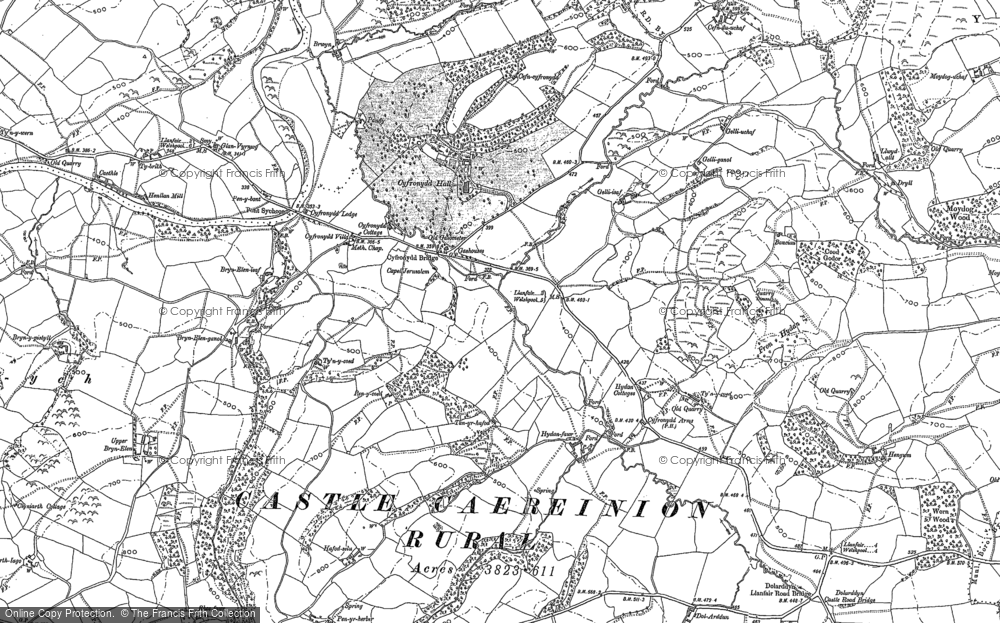 Old Map of Historic Map covering Afon Banwy neu Einion in 1884
